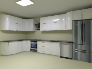 Deco Home Mutfak Dolabı Modern Kıvrımlı Beyaz