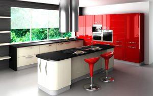 Deco Home Mutfak Dolabı Modern Parlak Kırmızı Geniş Kulplu Adalı