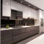 Deco Home Mutfak Dolabı Modern Kulpsuz Sade Parlak Beyaz Koyu Meşe
