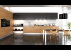 Deco Home Mutfak Dolabı Modern Geniş Kulplu Meşe Gri