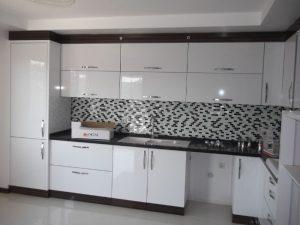Deco Home Mutfak Dolabı Modern Metalik Parlak Beyaz